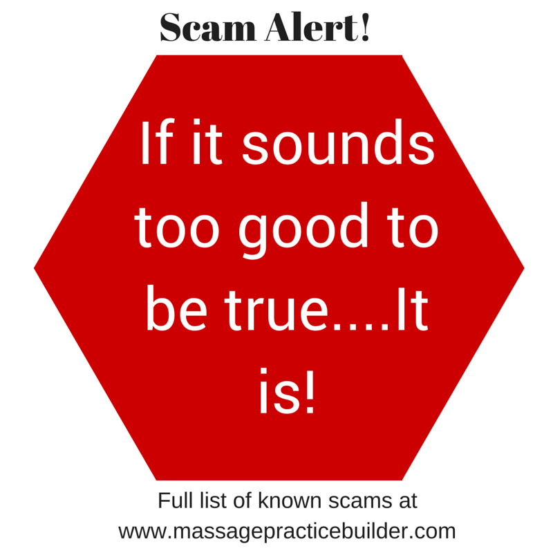 Massage therapists beware- email scams
